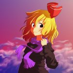 1girl :3 alternate_costume blonde_hair cato_(monocatienus) cloud dusk hair_ribbon looking_at_viewer red_eyes ribbon rumia scarf short_hair sky smile solo star_(sky) sweater touhou upper_body