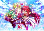2girls aino_megumi blue_background boots bow brooch chibi closed_eyes copyright_name cure_flora cure_lovely earrings eyebrows flower_earrings forever_lovely gloves go!_princess_precure hair_bow happinesscharge_precure! happy haruno_haruka heart heart_earrings jewelry long_hair magical_girl multicolored_hair multiple_girls ninomae pink_bow pink_hair pink_skirt precure red_bow red_hair shoes skirt smile streaked_hair thick_eyebrows thigh_boots thighhighs two-tone_hair white_boots white_gloves wrist_cuffs