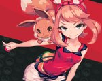 1girl allen_(makaroll) bag black_background blue_eyes breasts brown_hair cleavage commentary_request eevee flipped_hair hairband half-closed_eyes haruka_(pokemon) looking_at_viewer multicolored multicolored_background poke_ball pokemon pokemon_(creature) pokemon_(game) pokemon_on_shoulder pokemon_oras red_background shorts simple_background smile tank_top