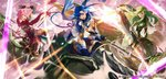3girls arm_up axe black_gloves blue_eyes blue_hair breastplate closed_mouth company_name copyright_name dragon est fingerless_gloves fire_emblem fire_emblem:_monshou_no_nazo fire_emblem_cipher gloves green_eyes green_hair headband highres holding holding_axe katua long_hair mayo_(becky2006) multiple_girls official_art open_mouth paola pink_eyes pink_hair riding scarf short_hair siblings sisters white_headband wyvern