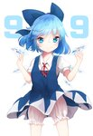 1girl absurdres akisha bad_id bad_pixiv_id bangs bloomers blue_bow blue_dress blue_eyes blue_hair bow cirno closed_mouth cowboy_shot dress hair_bow highres ice ice_wings looking_at_viewer red_ribbon ribbon short_dress short_hair short_sleeves simple_background smile solo standing touhou underwear white_background wings