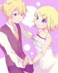 1boy 1girl adolescence_(vocaloid) aoi_choko_(aoichoco) bare_arms bare_shoulders blonde_hair brother_and_sister camisole close-up collarbone commentary_request dancing eye_contact flat_chest flower hair_ornament hairclip halterneck highres holding_hands interlocked_fingers kagamine_len kagamine_rin looking_at_another necktie open_mouth polka_dot polka_dot_background shirt short_hair short_ponytail siblings sleeveless_blazer smile spaghetti_strap twins upper_body vocaloid white_camisole yellow_neckwear