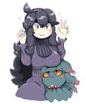 1girl :3 @_@ al_bhed_eyes blush blush_stickers breast_lift breasts gen_2_pokemon hairband hex_maniac_(pokemon) highres large_breasts messy_hair misdreavus pokemon pokemon_(creature) pokemon_(game) pokemon_xy purple_hairband ribbed_sweater sweater tazonotanbo