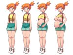 1girl blue_eyes blush boris_(noborhys) breast_growth breasts covered_nipples dark_nipples full_body heart heart-shaped_pupils highres kasumi_(pokemon) large_breasts medium_breasts midriff navel nipples orange_hair pokemon pokemon_(anime) pokemon_(classic_anime) pregnant progression shirt_lift shoes side_ponytail sneakers solo surprised suspenders symbol-shaped_pupils tank_top_lift underboob