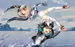2girls :d ^_^ black_hair blonde_hair blue_hair blush boots borrowed_character brown_eyes check_commentary closed_eyes commentary commentary_request drawstring eyebrows_visible_through_hair fang gradient_hair head_fins hood hoodie jacket kemono_friends killer_whale_(kemono_friends)_(stylecase) leg_grab leotard long_sleeves multicolored_hair multiple_girls nose_blush open_mouth original partial_commentary partially_submerged penguin_tail pink_footwear pink_hair royal_penguin_(kemono_friends) short_hair smile splashing tail thighhighs twintails water water_drop wavy_mouth welt_(kinsei_koutenkyoku) white_hair