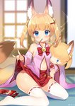 1girl animal_ears bell blonde_hair blue_eyes character_doll commentary_request detached_sleeves food fox_ears fox_tail hair_ornament hairclip jingle_bell kemomimi_oukoku_kokuei_housou kneeling kurot lifted_by_self long_hair looking_at_viewer mikoko_(kemomimi_oukoku_kokuei_housou) miniskirt mouth_hold navel open_clothes open_shirt pink_shirt pocky red_skirt shirt skirt skirt_lift solo sparkle stuffed_toy tail thighhighs thighs twintails white_legwear window zettai_ryouiki