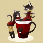 2girls :d animal_ears bad_id bad_pixiv_id cat cat_ears chibi cup dress himehi in_container in_cup long_hair minigirl multiple_girls open_mouth original pantyhose smile tail v_arms yellow_legwear
