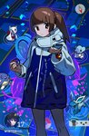 1girl brown_eyes chloma coat compass cubchoo female_protagonist_(pokemon_go) froslass gameplay_mechanics gen_1_pokemon gen_3_pokemon gen_4_pokemon gen_5_pokemon glaceon great_ball holding holding_poke_ball looking_down mew pantyhose poke_ball pokemon pokemon_(creature) pokemon_(game) pokemon_go pokemon_go_plus pokestop ponytail solo spheal tokiya
