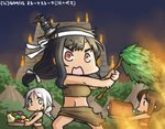 3girls alternate_costume black_hair blue_eyes boned_meat braid brown_eyes brown_hair carrying commentary_request dated food fruit hair_ornament hamu_koutarou headband i-401_(kantai_collection) kantai_collection long_hair low-tied_long_hair meat midriff multiple_girls navel open_mouth ponytail pyramid red_eyes sarong silver_hair single_braid squash sweatdrop tribal umikaze_(kantai_collection) yamashiro_(kantai_collection)