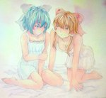 2girls acrylic_paint_(medium) all_fours alternate_costume arm_holding bare_arms barefoot blue_eyes blue_hair breasts brown_hair cirno cleavage graphite_(medium) hair_ribbon hair_tubes hakurei_reimu highres looking_at_another looking_down multiple_girls nightgown on_bed payot red_eyes ribbon short_hair sitting touhou traditional_media wariza watercolor_(medium) yuyu_(00365676)