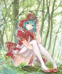 1girl >_< adjusting_clothes adjusting_hat apple aqua_eyes aqua_hair basket bottle bow commentary cosplay dress dress_bow food frilled_dress frills fruit grapes hat hatsune_miku highres holding_legs little_red_riding_hood_(grimm) little_red_riding_hood_(grimm)_(cosplay) looking_at_viewer outdoors red_bow red_dress red_hood ribbon sitting smile solo sun_(sunsun28) thighhighs tree vocaloid wolf yellow_ribbon