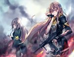 2girls armband assault_rifle bangs biting black_gloves black_jacket black_legwear black_skirt blood blood_on_face brown_eyes brown_hair closed_mouth cocoka commentary crying crying_with_eyes_open eyebrows_visible_through_hair fingerless_gloves fire flame floating floating_hair flower girls_frontline glove_biting glove_pull gloves grey_hair gun h&k_ump h&k_ump45 hair_between_eyes hair_flower hair_ornament heckler_&_koch highres holding holding_flower holding_gun holding_weapon hood hooded_jacket jacket long_hair long_sleeves looking_at_viewer looking_to_the_side multiple_girls open_clothes open_jacket pantyhose petals ribbon rifle scar scar_across_eye shirt simple_background skirt standing submachine_gun tears torn_clothes ump40_(girls_frontline) ump45_(girls_frontline) weapon white_shirt yellow_eyes