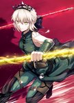 1girl artoria_pendragon_(all) artoria_pendragon_(swimsuit_rider_alter) bangs bare_shoulders belt black_bow blonde_hair bow braid breasts cosplay elbow_gloves fal fate/grand_order fate/zero fate_(series) french_braid gae_buidhe gae_dearg gloves green_gloves green_pants grin hair_bow jewelry lancer_(fate/zero) lancer_(fate/zero)_(cosplay) medium_breasts necklace pants polearm red_background saber_alter slit_pupils smile spear tiara weapon yellow_eyes
