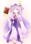 1girl adapted_costume alternate_costume blush book breasts crescent dress hat inyuppo long_hair patchouli_knowledge purple_eyes purple_hair solo thighhighs touhou