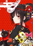 1girl animal bangs black_cat black_hair black_kimono blunt_bangs blush cat closed_mouth commentary_request egasumi eyebrows_visible_through_hair facial_mark floral_print fox_mask hair_bun japanese_clothes kimono mask mask_on_head myuton original print_kimono red_background red_eyes smile solo upper_body yellow_eyes