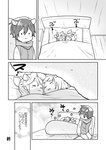 1girl 2boys :< animal_ears bed closed_eyes comic greyscale kagamine_len kagamine_rin kaito kikuchi_mataha looking_at_another monochrome multiple_boys sitting sleeping squirrel_ears squirrel_tail tail translation_request vocaloid