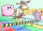 1girl 2boys bandaid bandana bandana_waddle_dee blue_eyes blush_stickers bonziri_1658 cape commentary_request conveyor_belt disembodied_limb extra_eyes fangs floating horns hurdle kirby kirby_(series) long_hair mario_party minigame multiple_boys no_mouth open_mouth pink_hair polearm red_neckwear red_scarf scarf short_hair spear susie_(kirby) taranza tears weapon white_eyes white_hair yellow_eyes