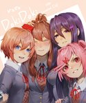 4girls :d blue_eyes blue_nails blush breasts brown_hair closed_eyes closed_mouth commentary commentary_typo copyright_name crying doki_doki_literature_club facing_viewer fang grey_jacket grin hair_between_eyes hair_ornament hair_ribbon hairclip hand_on_another's_head jacket large_breasts long_hair long_sleeves looking_at_viewer looking_away medium_breasts monika_(doki_doki_literature_club) multiple_girls nail_polish natsuki_(doki_doki_literature_club) odakojirou open_mouth parted_lips pink_eyes pink_hair ponytail purple_eyes purple_hair purple_nails red_ribbon ribbon sayori_(doki_doki_literature_club) school_uniform self_shot selfie_stick short_hair sidelocks simple_background smile tears teeth two_side_up x_hair_ornament yuri_(doki_doki_literature_club)