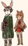 1boy 1girl animal_ears arthur_(series) belt black_hair boots brown_hair bunny_ears cape commentary crossover frown furry gloves green_cape highres iwatani_naofumi kataro long_hair looking_to_the_side mark_brown_(style) marker_(medium) parody raphtalia ribbon shield smile tate_no_yuusha_no_nariagari thigh_boots thighhighs traditional_media