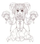 1girl bangs belt_buckle buckle claws dress fang gloves greyscale hair_ornament headgear heart iralion lineart medium_hair monochrome open_mouth original paw_pose simple_background sketch solo standing tied_hair tongue white_background