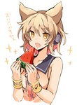 1girl bangs blonde_hair blush earmuffs eyebrows_visible_through_hair food fruit hair_between_eyes holding open_mouth pointy_hair short_hair simple_background sleeveless solo sparkle tori_(10ri) touhou toyosatomimi_no_miko translation_request upper_body watermelon white_background yellow_eyes
