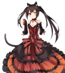 1girl animal_ears black_hair blush breasts cat_ears cat_tail choker cleavage clock_eyes date_a_live detached_sleeves dress google_(asdek18) heterochromia highres lolita_fashion long_hair looking_at_viewer paw_pose red_dress red_eyes ribbon smile solo standing tail tokisaki_kurumi twintails white_background yellow_eyes