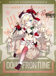 1girl alternate_costume belt bikini_top black_footwear blonde_hair blue_eyes blush boots breasts christmas coat colt_m1873_(girls_frontline) colt_saa commentary_request girls_frontline gloves gun handgun hat holding long_hair looking_at_viewer navel official_art red_coat red_gloves red_headwear revolver sack saru short_shorts shorts single_thighhigh small_breasts smile solo striped striped_legwear thighhighs twintails weapon