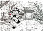 1girl architecture broom east_asian_architecture etogami_kazuya gate hat kirisame_marisa leaf long_hair maple_leaf monochrome nature outdoors scenery solo spot_color touhou tree witch_hat