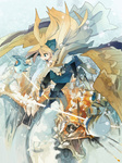 1girl akitsu_taira animal armor bird blonde_hair blue_eyes cat dragon izumi_luna_(akitsu_taira) original snow solo wings