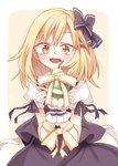 1girl blonde_hair blush bound bow commentary_request cowboy_shot dated eyebrows_visible_through_hair food fruit hair_bow highres ina_(inadahime) kirisame_marisa looking_at_viewer open_mouth pear puffy_short_sleeves puffy_sleeves ribbon ribbon_bondage short_sleeves solo touhou wrist_cuffs yellow_eyes yellow_ribbon