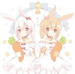 2girls :o animal_ears bangs bare_shoulders bell black_bow black_ribbon blue_bow blush bow braid brown_eyes bunny_ears closed_mouth commentary_request dress eyebrows_visible_through_hair gloves hair_between_eyes hair_bow hair_rings heart holding holding_stuffed_toy jingle_bell light_brown_hair looking_at_viewer maodouzi multiple_girls off-shoulder_dress off_shoulder original parted_lips paw_gloves paws petals pink_bow puffy_short_sleeves puffy_sleeves red_eyes ribbon short_sleeves silver_hair sketch smile star stuffed_carrot stuffed_toy translation_request twin_braids white_background white_dress