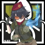 1girl absurdres alibi_(rainbow_six_siege) alibi_(rainbow_six_siege)_(cosplay) antyobi0720 anzio_(emblem) arm_up bangs belt beret black_belt black_gloves black_hair body_armor braid brown_eyes brown_pants character_name collar commentary_request cosplay emblem eyebrows_visible_through_hair fingerless_gloves girls_und_panzer gloves green_jacket grin hair_over_one_eye hair_tie hat highres hologram jacket leaning_forward long_sleeves looking_at_viewer military_hat pants partial_commentary pepperoni_(girls_und_panzer) rainbow_six_siege red_collar red_headwear robot short_hair side_braid sleeves_rolled_up smile solo standing tactical_clothes upper_body v-shaped_eyebrows