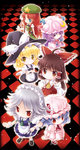6+girls apron blonde_hair blue_eyes blue_hair braid brown_eyes brown_hair crescent_hair_ornament dress hair_ornament hair_tubes hakurei_reimu hat hong_meiling izayoi_sakuya kirisame_marisa knife long_hair maid maid_apron maid_headdress mob_cap multiple_girls patchouli_knowledge purple_eyes purple_hair red_eyes red_hair remilia_scarlet scarlet_devil_mansion silver_hair touhou tsukasaki_aoi twin_braids witch_hat wrist_cuffs yellow_eyes
