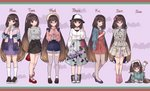 1girl absurdres arms_behind_back bag bow bracelet brown_eyes brown_hair casual crepe cup denim denim_shorts disposable_cup drawing_tablet dress earrings eating fashion fate/grand_order fate_(series) floral_print food glasses hair_bow handbag hane_yuki hat highres jacket_on_shoulders jewelry long_hair lying on_stomach osakabe-hime_(fate/grand_order) pantyhose ponytail shorts smile stylus thighhighs very_long_hair