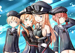 4girls :d adapted_costume anchor_hair_ornament aqua_eyes bare_shoulders bismarck_(kantai_collection) blonde_hair blue_eyes blush breasts clothes_writing detached_sleeves gloves hair_ornament hand_on_another's_arms hat highres iron_cross kantai_collection long_hair long_sleeves looking_at_viewer military military_uniform multiple_girls open_mouth outline payot peaked_cap pink_eyes prinz_eugen_(kantai_collection) red_hair rits_(single_type) sailor_collar sailor_hat short_hair sketch smile twintails underboob uniform white_gloves z1_leberecht_maass_(kantai_collection) z3_max_schultz_(kantai_collection)