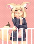 1girl absurdres animal_ear_fluff animal_ears bangs blazer blonde_hair blush brown_eyes commentary_request cowboy_shot eyebrows_visible_through_hair fennec_(kemono_friends) fox_ears fox_tail hand_on_own_face highres initsukkii jacket kemono_friends long_sleeves looking_at_viewer pink_sweater pleated_skirt polka_dot polka_dot_background railing school_uniform shirt skirt smile solo sweater tail unbuttoned unbuttoned_shirt white_shirt