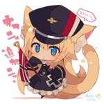 1girl animal_ear_fluff animal_ears armband azur_lane bangs black_dress black_headwear black_legwear blonde_hair blue_eyes blush cat_ears cat_girl cat_tail character_request chibi commentary_request copyright_name dress flag frilled_dress frills hair_between_eyes hat highres iron_cross long_hair long_sleeves meowficer_(azur_lane) military_hat muuran oscar_(azur_lane) pantyhose parted_lips peaked_cap shadow signature sleeves_past_fingers sleeves_past_wrists solo sparkle tail tail_raised translation_request very_long_hair