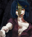 1girl bags_under_eyes blood blue_eyes blue_hair breasts guro hat injury jiangshi koudon looking_at_viewer miyako_yoshika ofuda open_clothes open_shirt outstretched_arm outstretched_arms rotting shirt short_hair short_sleeves simple_background solo star touhou zombie zombie_pose