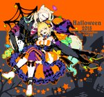 1boy 1girl ahoge animal_ears bandages beard black_legwear blonde_hair boots bow breasts candy cleavage commentary_request detached_collar eyebrows_visible_through_hair eyeshadow facial_hair facial_mark fate/grand_order fate_(series) fingerless_gloves food ghost gloves green_eyes hair_intakes halloween halloween_costume hat jack-o'-lantern jacket koshiro_itsuki leather leather_boots leather_gloves leather_jacket leather_pants lollipop long_hair long_sleeves makeup necktie nero_claudius_(fate) nero_claudius_(fate)_(all) pants puffy_dress pumpkin sharp_teeth silk smile spider_web star striped striped_legwear teeth vlad_iii_(fate/apocrypha) witch_hat