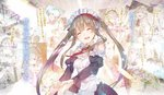 apron brown_hair elf frilled_apron frilled_sleeves frills hairband highres jewelry long_hair long_sleeves maid myucel_foalan neck_ribbon outbreak_company pointy_ears red_ribbon ribbon smile tears twintails white_apron yuugen