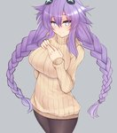 1girl blue_eyes blush braid breasts choujigen_game_neptune cowboy_shot dura grey_background hair_ornament hand_on_own_chest large_breasts long_hair looking_at_viewer neptune_(series) pantyhose purple_hair purple_heart shiny shiny_hair simple_background smile solo sweater symbol-shaped_pupils twin_braids very_long_hair