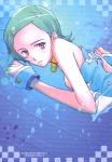 1girl aqua_hair blush breasts bubble checkered collar dress dress_lift eureka eureka_seven eureka_seven_(series) fish flat_chest hair_ornament hairclip highres looking_back nipples no_bra pink_eyes scan short_hair sideboob solo sugiyama_genshou underwater water wrist_cuffs