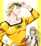 2boys bad_id bad_pixiv_id barnaby_brooks_jr blonde_hair highres multiple_boys ryan_goldsmith sparkle sunglasses sunglasses_on_head tiger_&_bunny umishima_senbon yellow_eyes