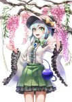 1girl absurdres adapted_costume aqua_hair black_hat bow branch bright_pupils brooch center_frills cowboy_shot fingernails flower frilled_skirt frilled_sleeves frills green_eyes green_skirt hair_between_eyes hands_up hat hat_bow highres jewelry komeiji_koishi kukkuru long_sleeves looking_at_viewer medium_hair miniskirt open_mouth pleated_skirt shirt simple_background skirt smile solo standing third_eye touhou white_background white_pupils white_shirt wide_sleeves wisteria yellow_bow