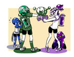 1girl 3boys beauty_(zoza) blue_eyes brother_and_sister brown_eyes chain cleats domino_mask donut_(zoza) emblem flower flying_sweatdrops football_helmet green_hair hair_flower hair_ornament headband helmet hiding ink_tank_(splatoon) inkling_(language) luna_blaster_(splatoon) mask multiple_boys open_mouth outside_border partially_colored pointy_ears pretty_(zoza) purple_hair samurai_(zoza) shirt shoes shorts siblings single_vertical_stripe socks splatoon_(series) splatoon_1 splattershot_jr_(splatoon) squid striped striped_shirt sweatdrop t-shirt tentacle_hair topknot vertical-striped_shirt vertical_stripes younger zoza