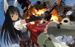 1girl aasara anabuki_tomoko animal_ears black_eyes black_hair explosion flying japanese_clothes solo striker_unit sword weapon world_witches_series