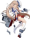 1girl adapted_turret blue_sailor_collar cannon damaged full_body green_eyes grey_hair gun hat kantai_collection long_hair low_twintails machinery mary_janes mast mikura_(kantai_collection) one_eye_closed open_mouth panties pleated_skirt puffy_short_sleeves puffy_sleeves red_skirt round_teeth sailor_collar sailor_hat school_uniform serafuku shoes short_sleeves simple_background single_shoe skirt smokestack socks solo teeth torn_clothes turret twintails underwear upper_teeth weapon white_background white_headwear white_legwear white_panties yamano_(yamanoh)