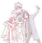 1girl 3boys :d aladdin_(magi) alternate_costume baby bag belt blue_eyes blue_hair blush braid breath coat contemporary family glasses grin hat highres hood_down hooded_jacket jacket_on_shoulders long_hair long_sleeves magi_the_labyrinth_of_magic multiple_boys noeunjung93 open_mouth pants pink_hair pointing red_eyes scarf sheba_(magi) simple_background single_braid sketch smile solomon_jehoahaz_abraham sweater taking_picture turtleneck uugo very_long_hair w what_if white_background winter_clothes