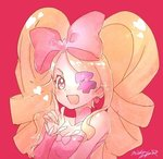 1girl :d blonde_hair bow breasts cleavage drill_hair eyepatch fingernails hair_bow harime_nui index_finger_raised kill_la_kill looking_at_viewer mika_pikazo one_eye_covered open_mouth pink_background pink_bow pink_eyes signature simple_background smile solo twin_drills twintails upper_body