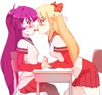 black_legwear blonde_hair blue_eyes blush bow chair commentary desk english_commentary eye_contact eyebrows_visible_through_hair face-to-face food hair_bow holding_hands interlocked_fingers long_hair long_sleeves looking_at_another nanamori_school_uniform pantyhose pleated_skirt pocky pocky_kiss purple_eyes purple_hair red_bow red_skirt rtil school_desk school_uniform simple_background sitting skirt sugiura_ayano toshinou_kyouko very_long_hair white_background yuri yuru_yuri